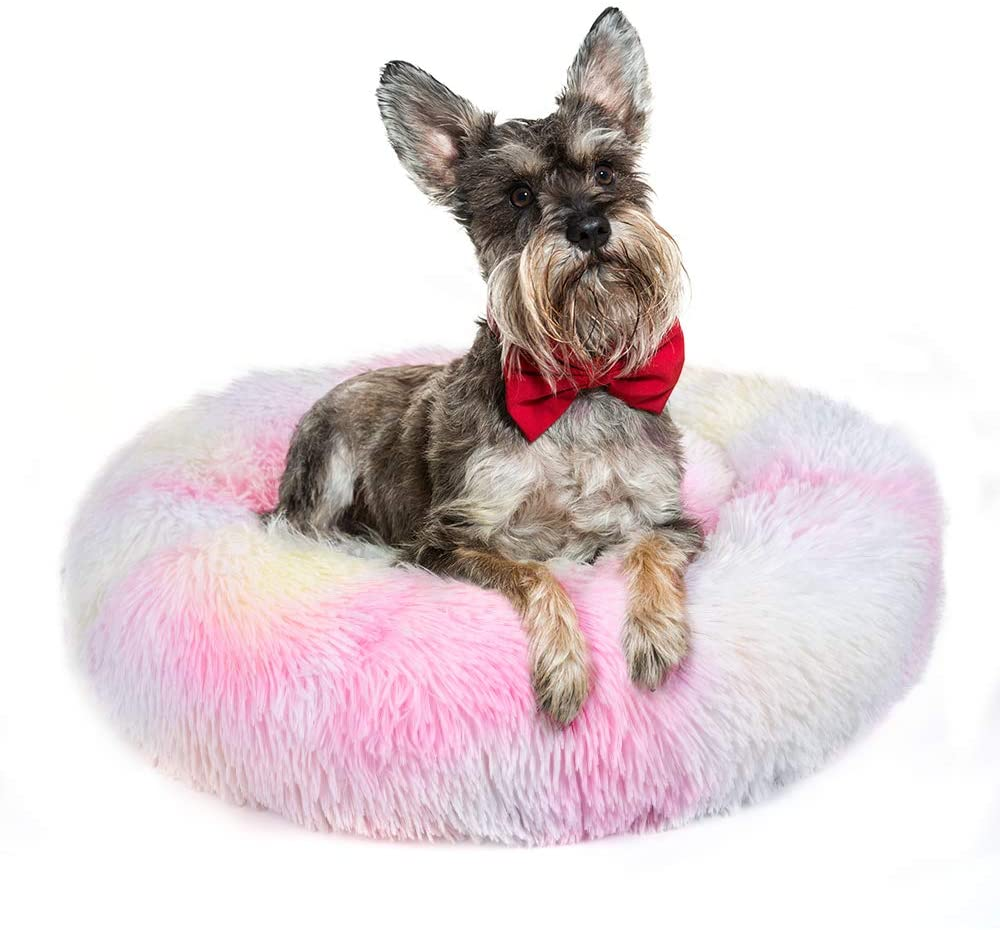 Jorpet Dog Calming Bed, Ultra Soft Donut Cuddler Nest Warm Plush Dog Cat Cushion Bed, Durable Round Pet Bed for Dogs & Cats, Waterproof Base, Anti-Slip, Machine Washable