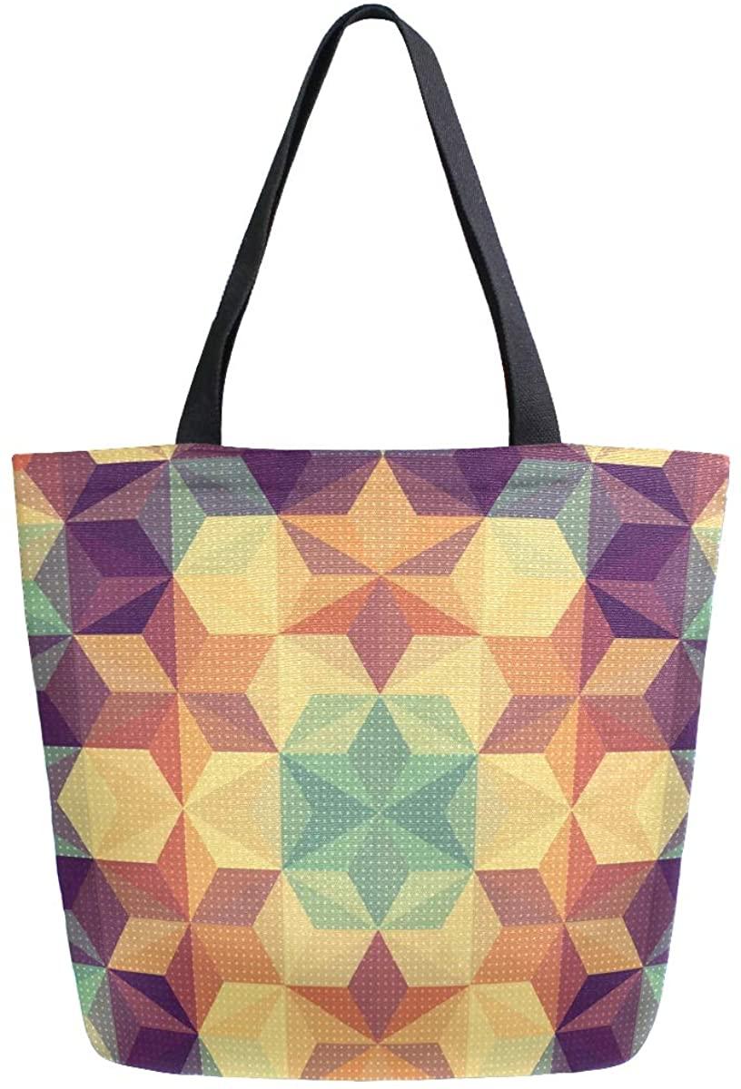 Woman Tote Bag Shoulder Purple Circle Handbag for Work Travel Business Beach Shopping School