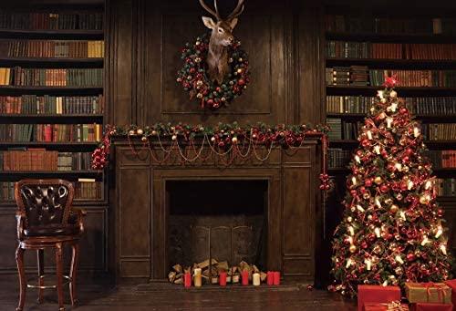 Baocicco 12x8ft Merry Christmas Backdrop Old Library Christmas Wreath Retro Bookshelf Fantasy Christmas Tree Head of Reindeer Photography Background Christmas Eve Party Baby Infant Kids Photoshoot
