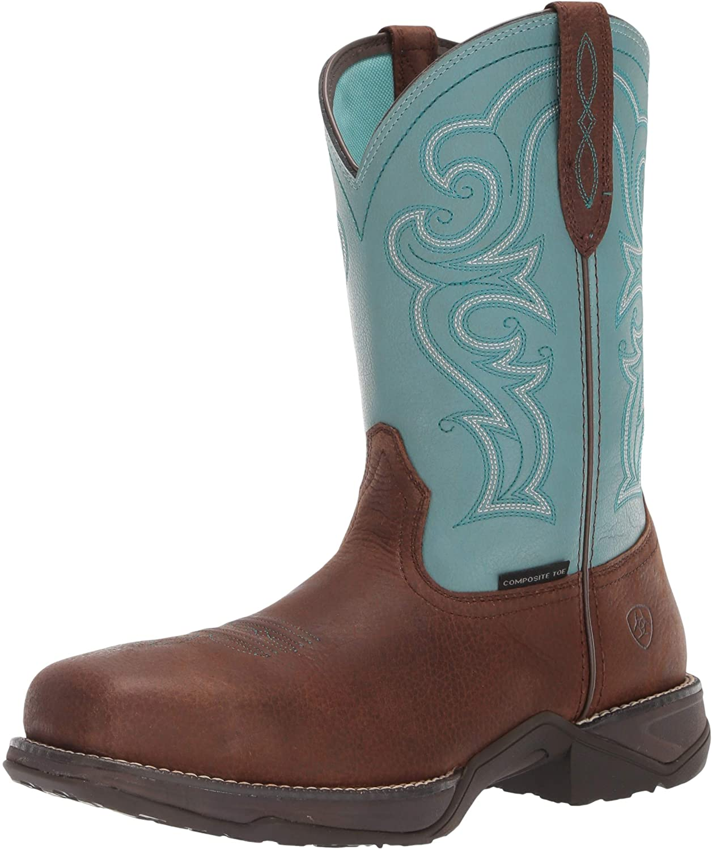 Ariat Women's Round up D Toe Wingtip Western Cowboy Boot