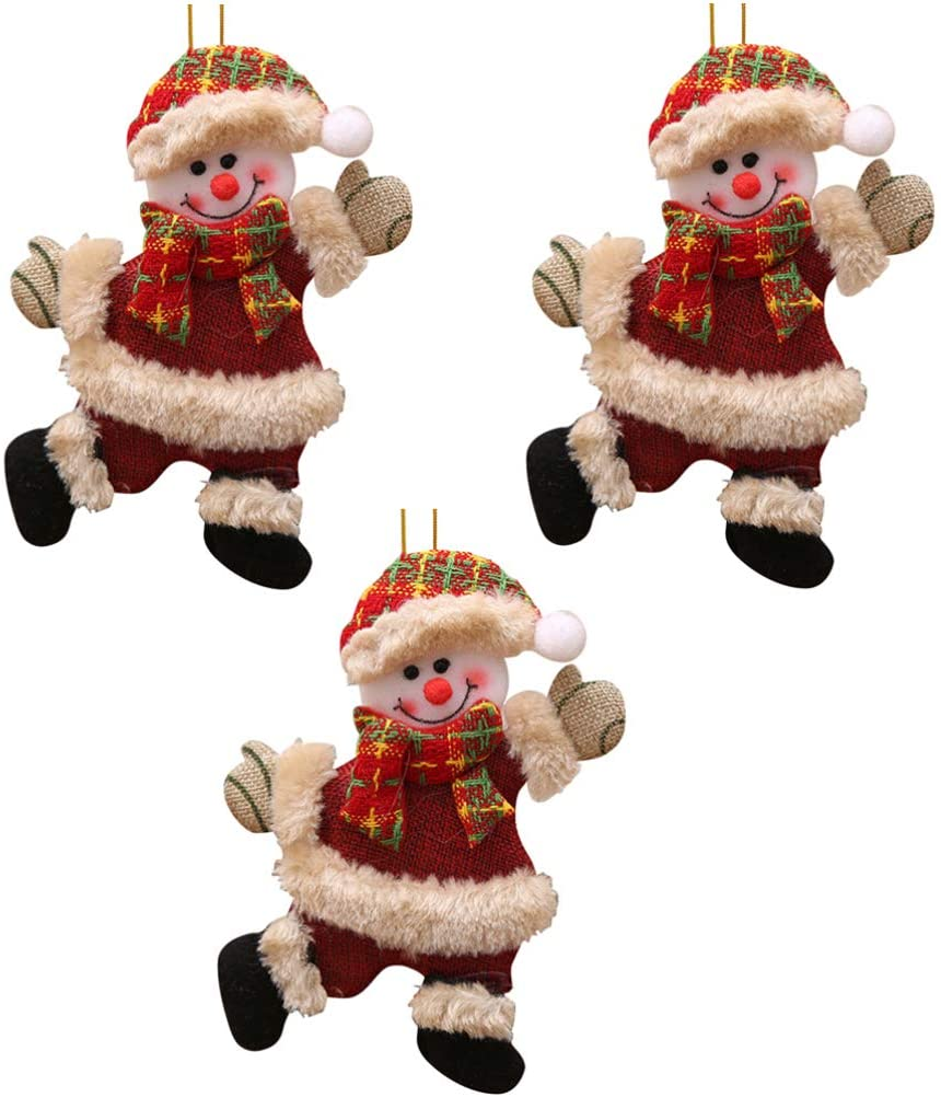 WINOMO 3PCS Christmas Plush Ornaments Christmas Hanging Snowman Decorations for Christmas Tree Party