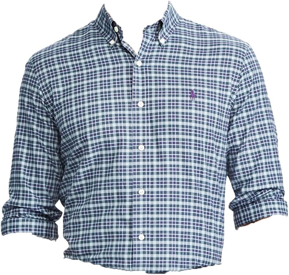 Ralph Lauren Polo Men's Standard Fit Checked Plaid Button Down Long Sleeve Cotton Shirt, Blue/Tan (Small)