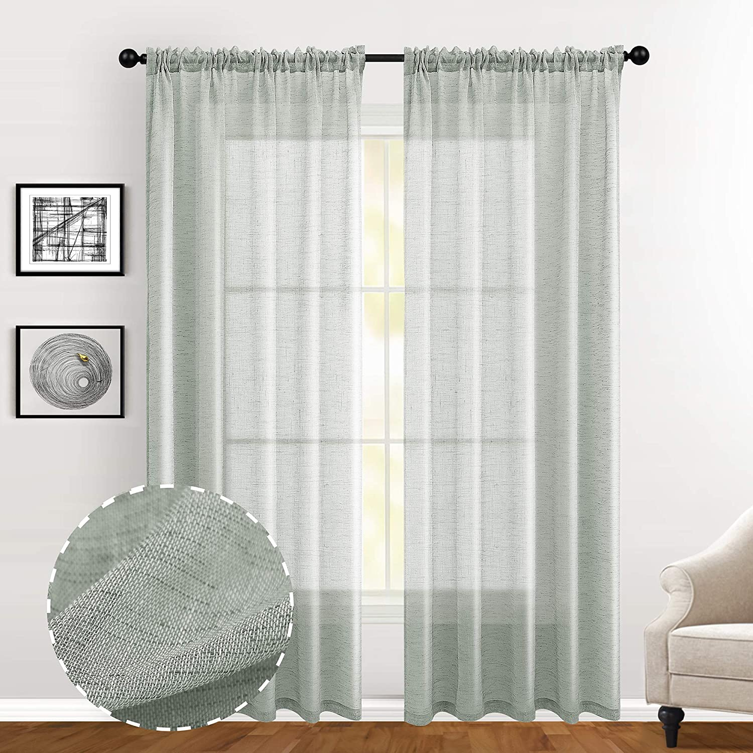 Guken Grey Faux Linen Textured Curtains for Bedroom 108 inches Long Rod Pocket Semi Sheer Curtains for Living Room Light Reducing Window Treatments Set of 2 Panels