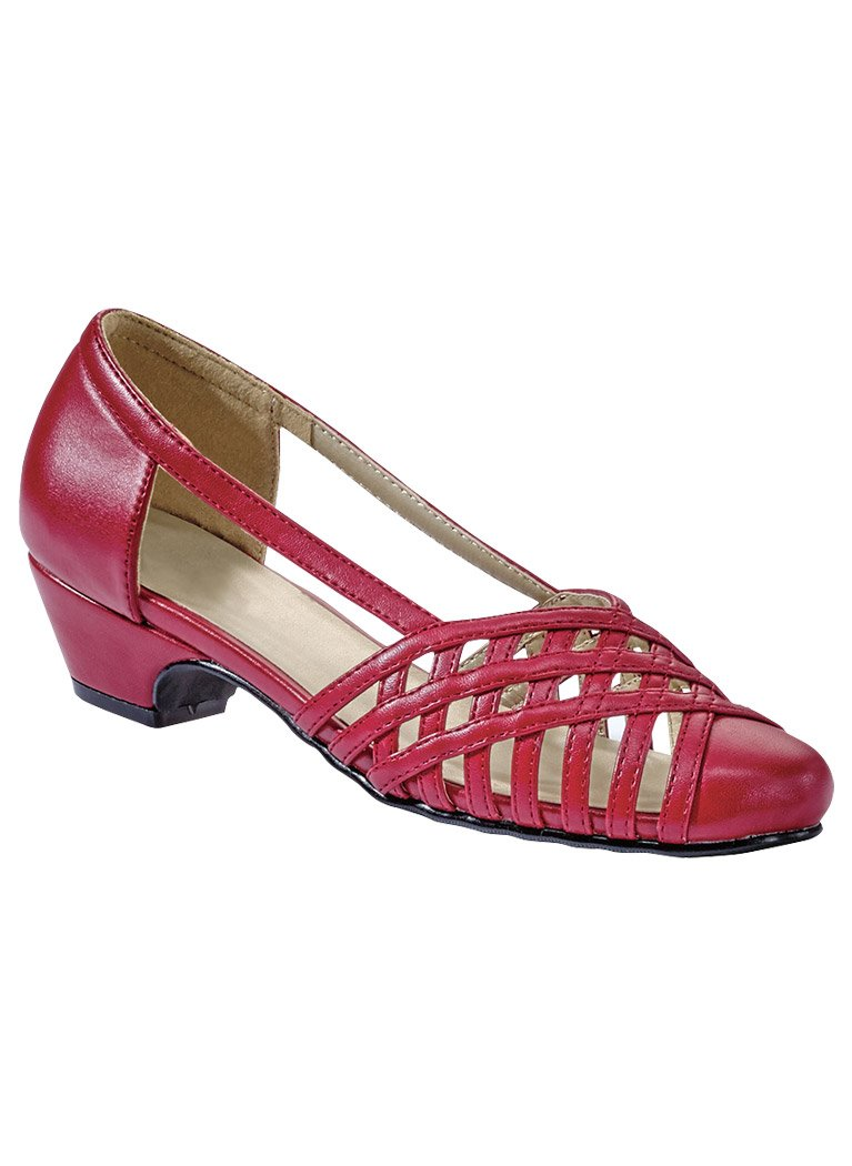Angel Steps Women's Colleen Woven Low Heel Pumps Red 10 Medium US Women