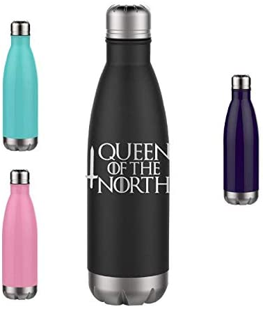 Queen of the North - Engraved Tumbler Wine Mug Cup Unique Funny Birthday Gift Graduation Gifts for Women GOT Game of Thrones Drink Know Things (17oz Water, Black)