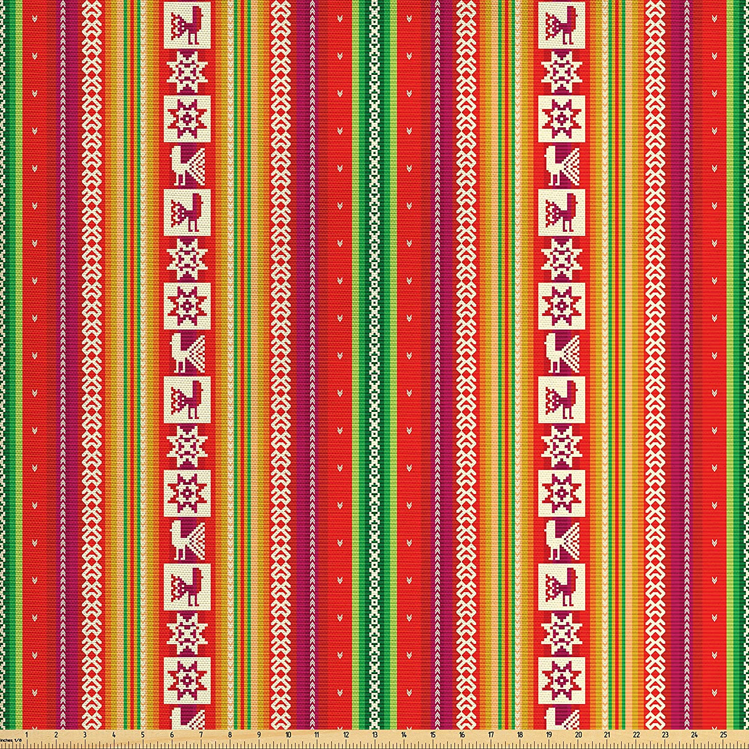 Lunarable Tribal Fabric by The Yard, South American Colorful Pattern with Birds Bolivian Traditional Borders, Decorative Fabric for Upholstery and Home Accents, Multicolor