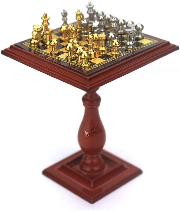 NarutoSak Mini Chess Table Set,1/6 1/12 Miniature Doll House Magnetic Chess Board Table Set Kids DIY Decor Toy