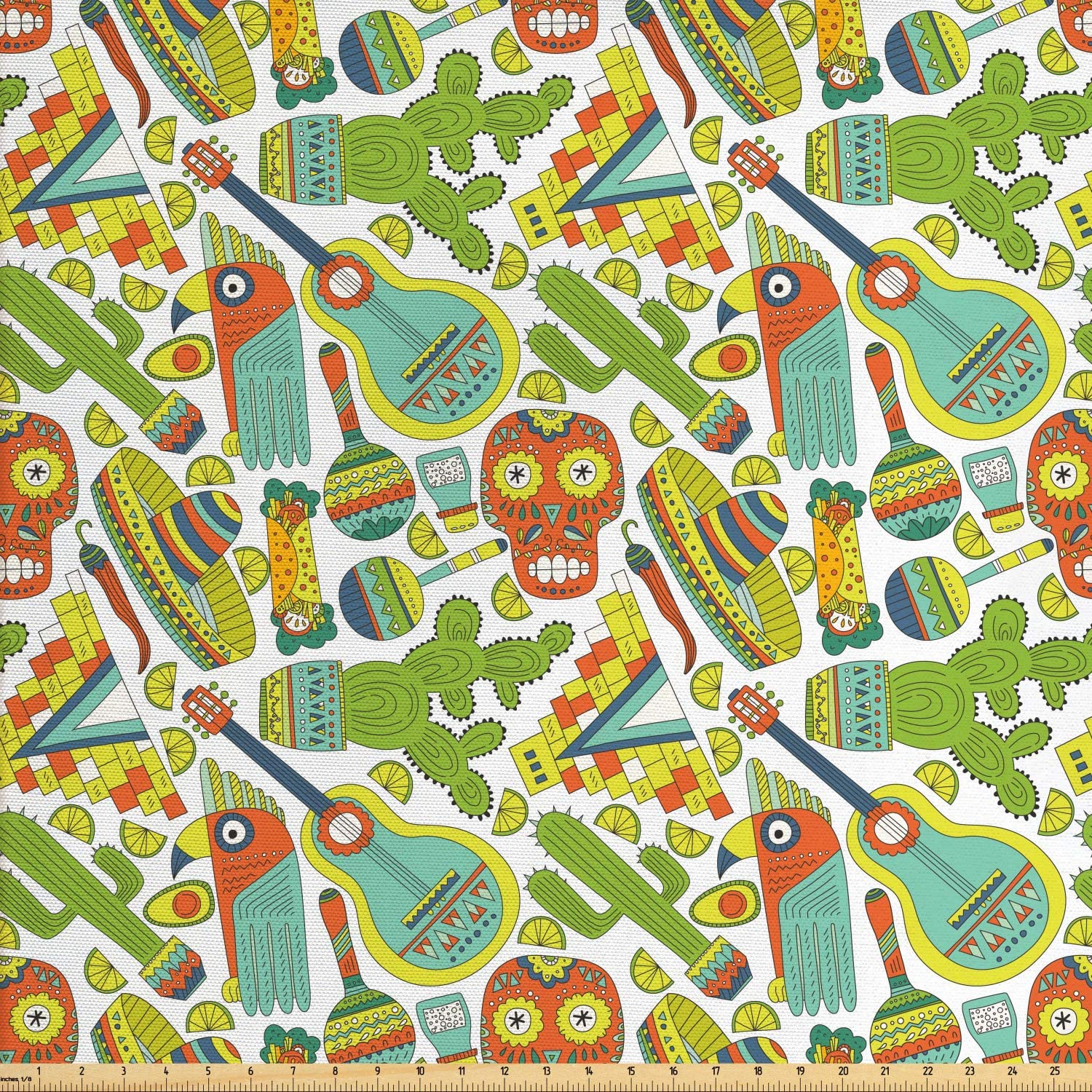 Ambesonne Mexican Fabric by The Yard, Traditional Elements Cartoon Maracas Taco Sombrero, Decorative Fabric for Upholstery and Home Accents, 1 Yard, Green Orange