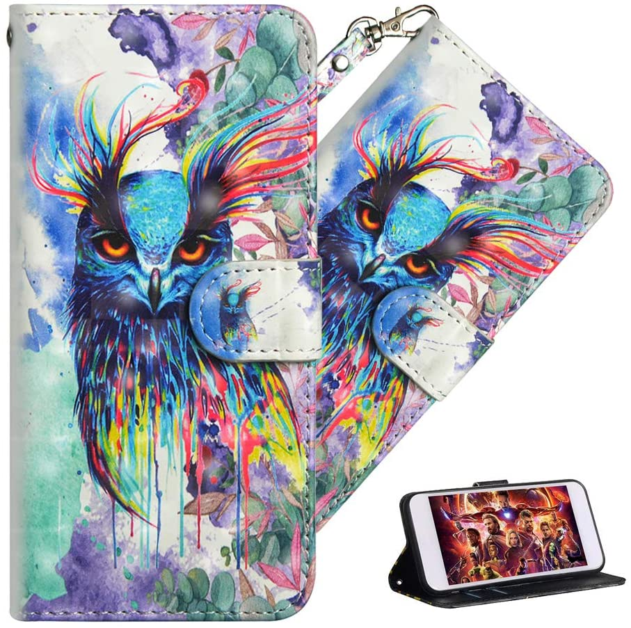 QIVSTARS Case for iPhone 6 Plus Magnet PU Stylish Soft Lovely Light 3D Case with Lanyard Anti-Fall Stand Scratchproof Case Full Body Protective Flip Cover Case for iPhone 6s Plus Colorful Owl YX