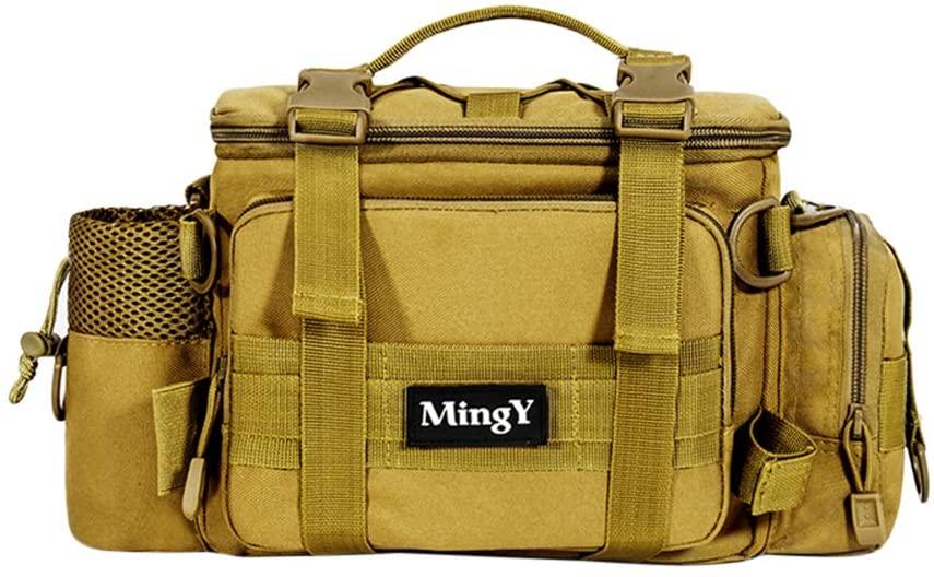 FENICAL Fishing Tackle Bag Multifunctional Waist Pack Sling Bag Water-Resistant Fishing Gear Storage Bag (Khaki)