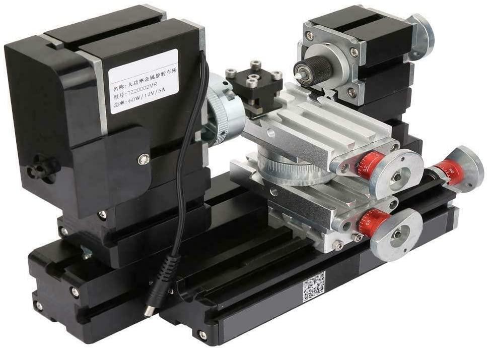 Mini Metal Lathe 12000Rpm 60W Motorized Lathe 12V DC/5A DIY Metel Woodworking Tool