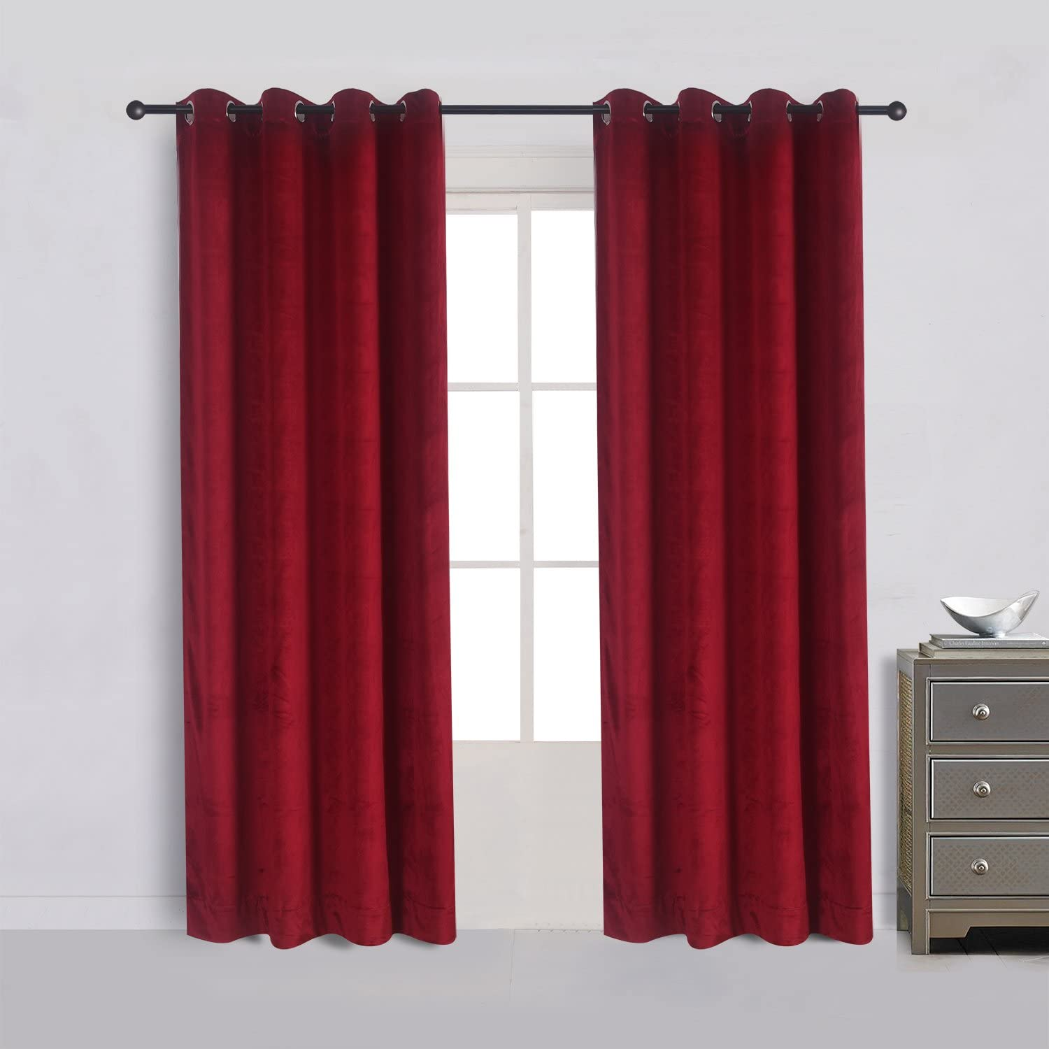 Cherry Home Set of 2 Classic Blackout Velvet Curtains Panels Home Theater Grommet Drapes Eyelet 52Wx96L-inch Red(2 Panels) Theater| Bedroom| Living Room| Hotel