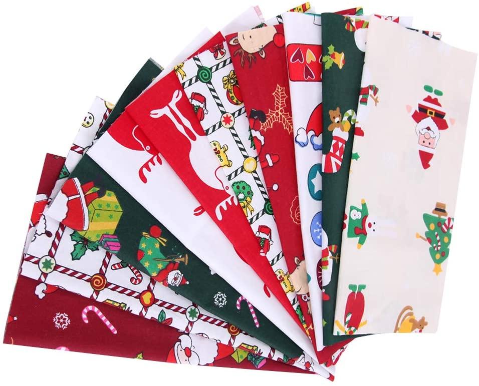 JAOCDOEN Cotton Cloth, 5Pcs/10Pcs Christmas Santa Claus Printed Cotton Sewing Fabric for Patchwork Needlework DIY Handmade Material Christmas Decorations