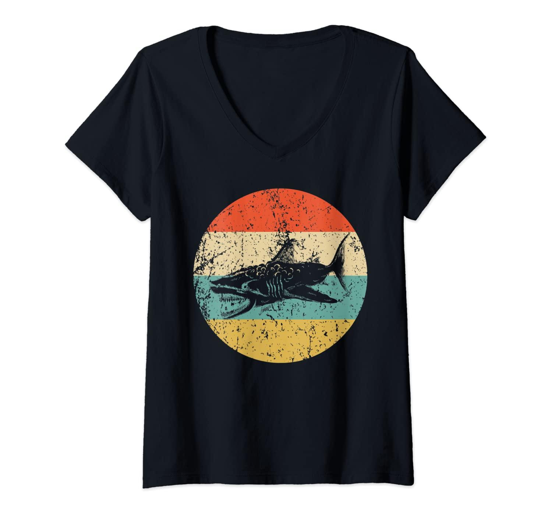 Womens Great White Shark Retro Style Megalodon V-Neck T-Shirt