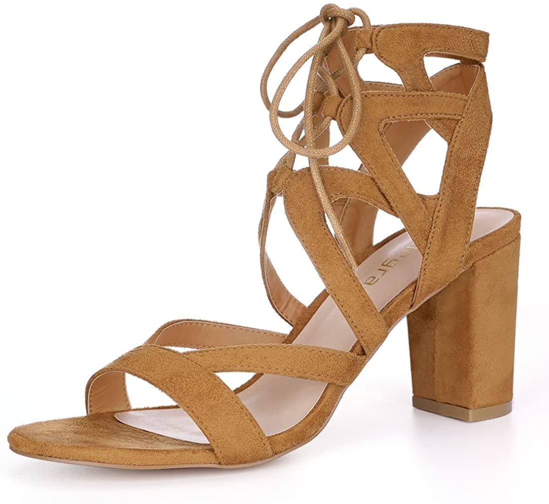 Allegra K Womens Crisscross Chunky Heel Lace Ups Sandals