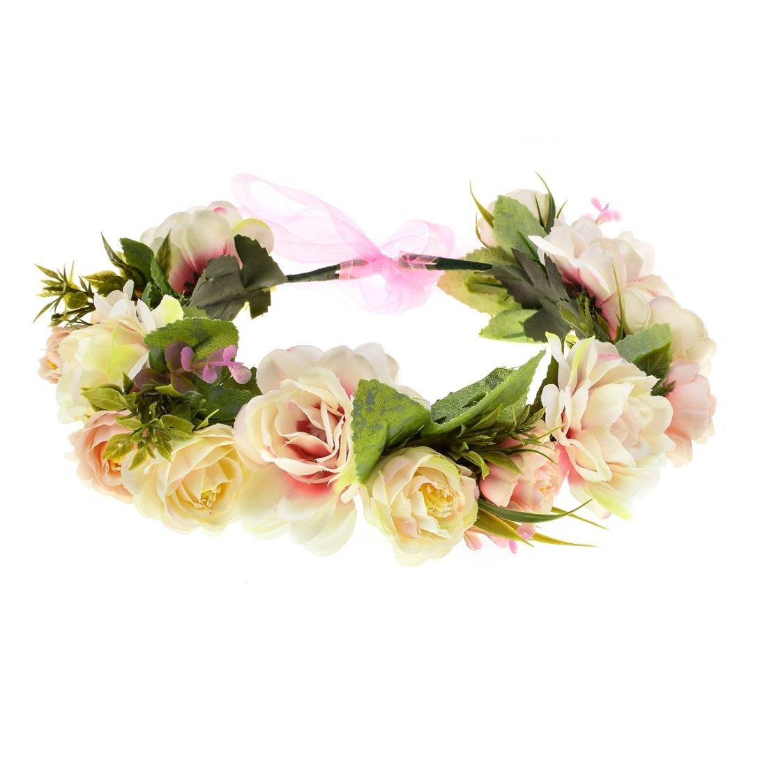 Vividsun Flower Crown Floral Headpiece Festival Wedding Hair Wreath Floral Crown (C/champagne)
