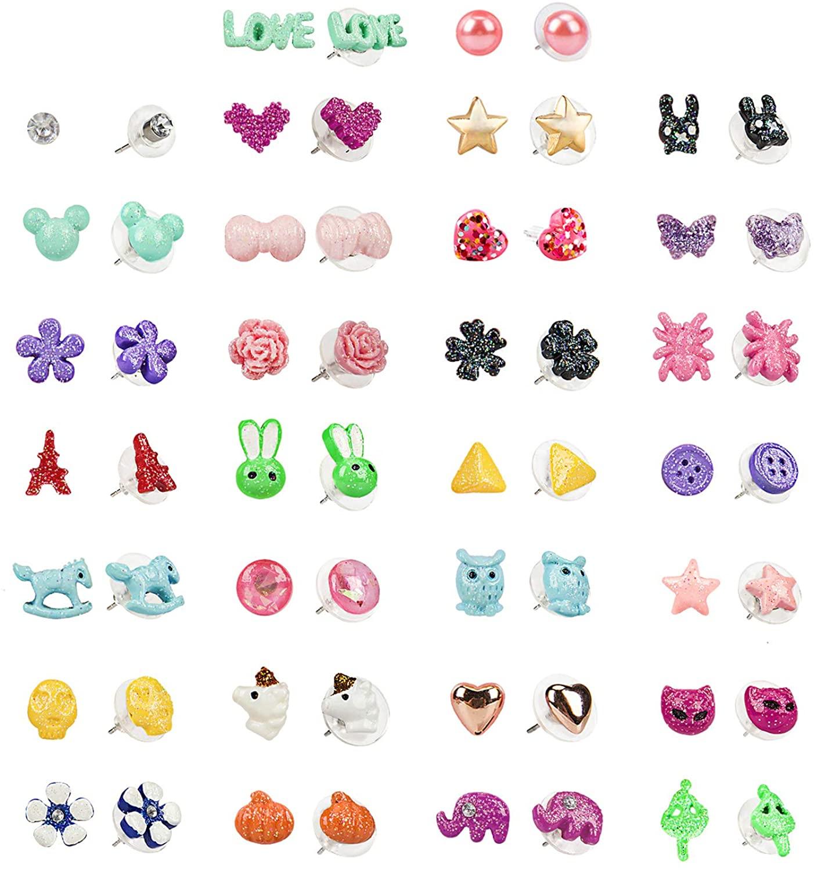 SkyWiseWin Girls Hypoallergenic Earrings, 30 Pairs Stainless Steel Mixed Color Cute Animals Heart Flower Pearl Jewelry Stud Earrings Set
