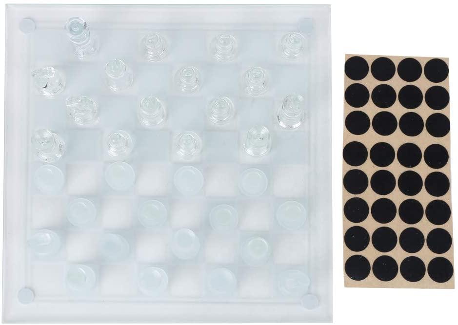 VGEBY 25x25cm Dull Polish Glass Crystal International Chess 1 Checkerboard and 32 Chessman International Chess