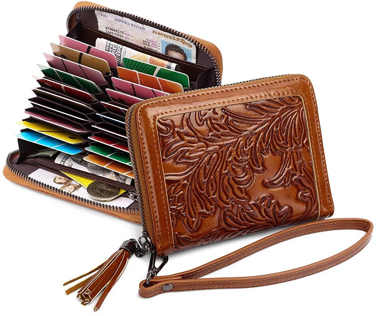 Credit Card Case Holder for Women RFID Blocking Embossed Ladies Wallet 20 Slots Coin Purse Zip Around Tassels 189-2