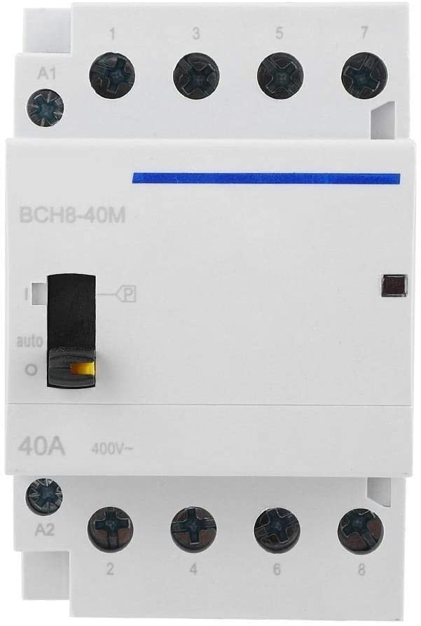 Beennex BCH8-40M 24V 4P 40A DIN Rail Household AC Contactor with Manual Control Switch(4NO)