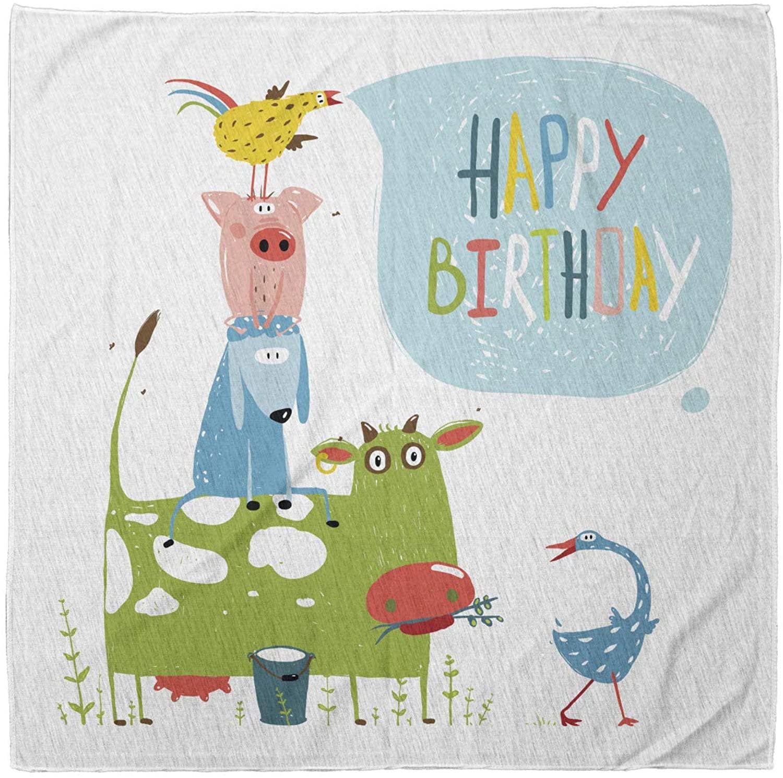 Lunarable Bandana Scarf, Birthday Animal Pyramid Cow Sheep, Multicolor