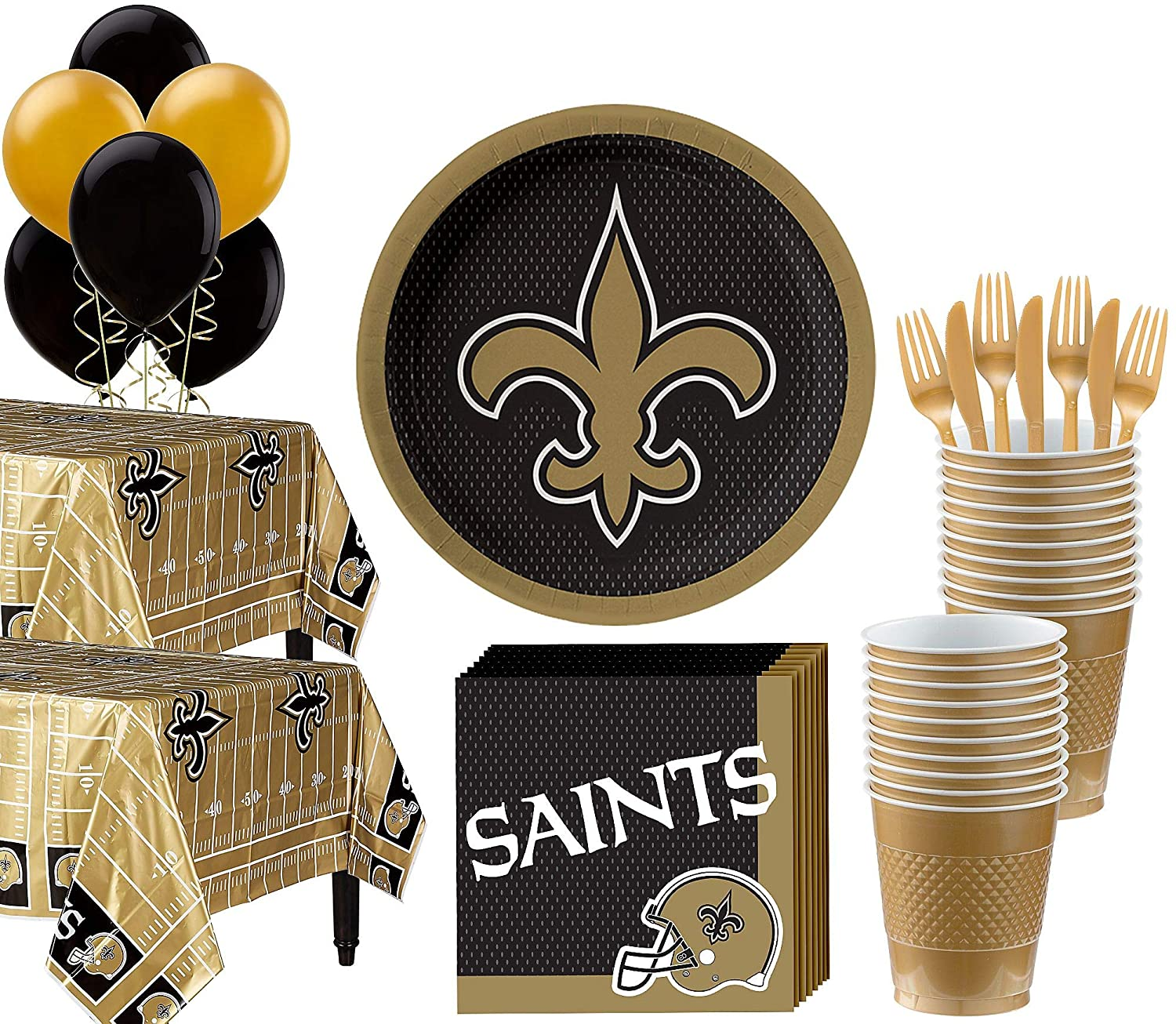 Party City New Orleans Saints Super Party Supplies for 36 Guests, Include Plates, Napkins, Table Covers, and Balloons