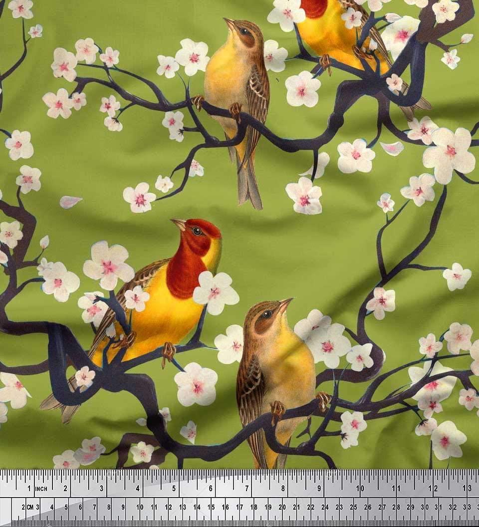 Soimoi Green Cotton Voile Fabric Fish,Bird & Yacht Bird Print Fabric by The Yard 56 Inch Wide