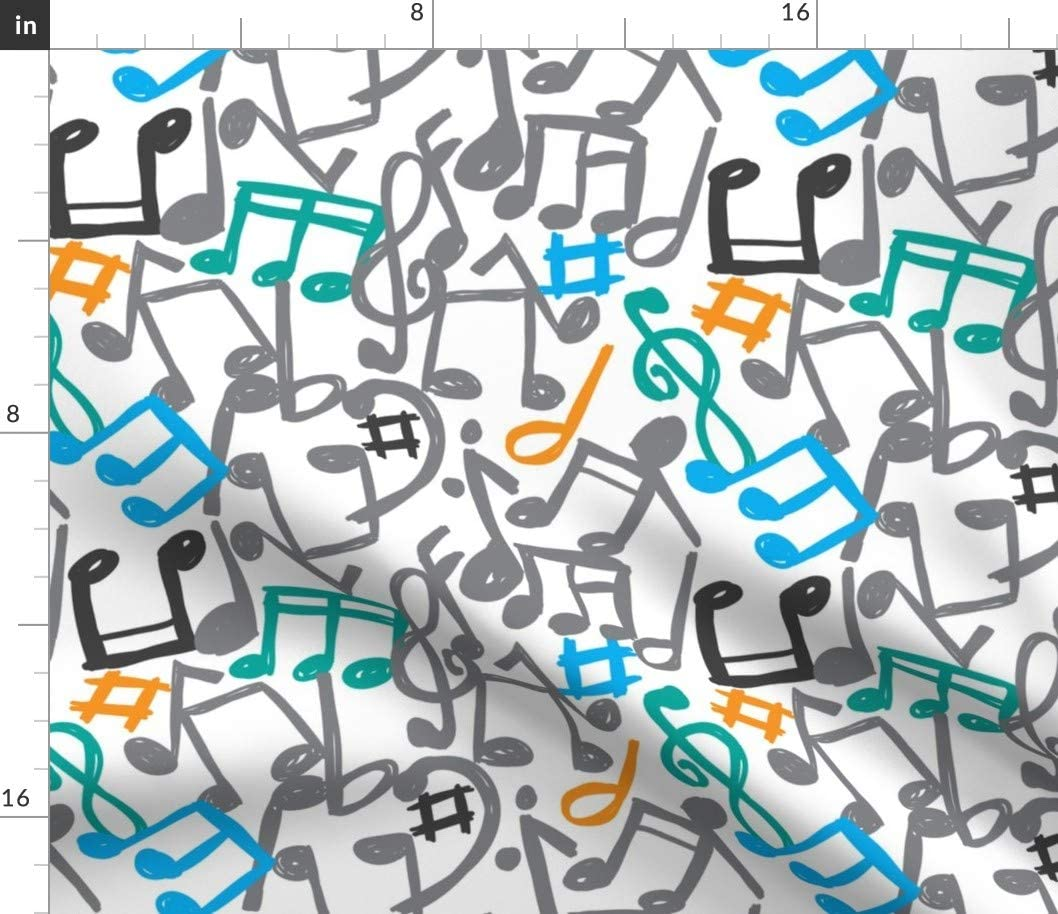 Spoonflower Fabric - Music Color Musician Piano Notes Grey Classical Wind Band Orchestra Printed on Petal Signature Cotton Fabric by The Yard - Sewing Quilting Apparel Crafts Decor