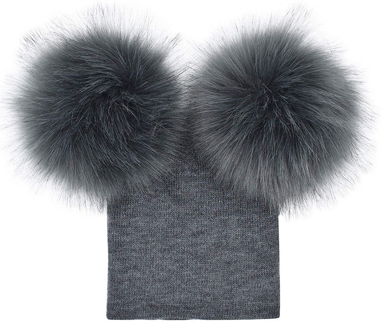 N / D Toddler Baby Kid Boy Girl Hats Winter Warm Cute Pom Poms Beanie Hat