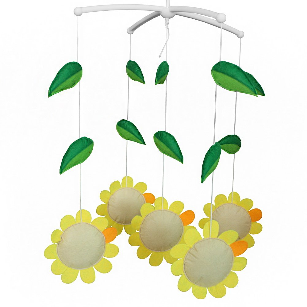 Infant Room Decor Toy Crib Mobile Musical Toy for Infant, Sun Flower