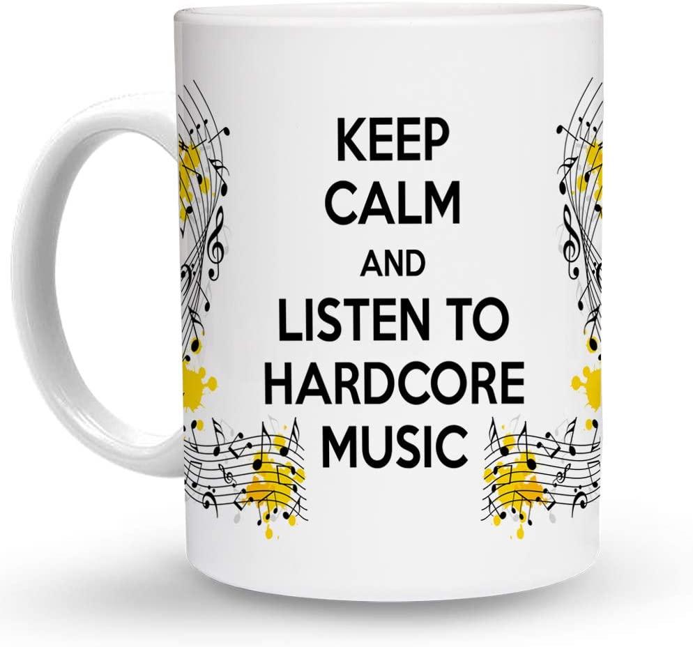 Makoroni - KEEP CALM AND LISTEN TO HARDCORE MUSIC - 11 Oz. Unique COFFEE MUG, Coffee Cup