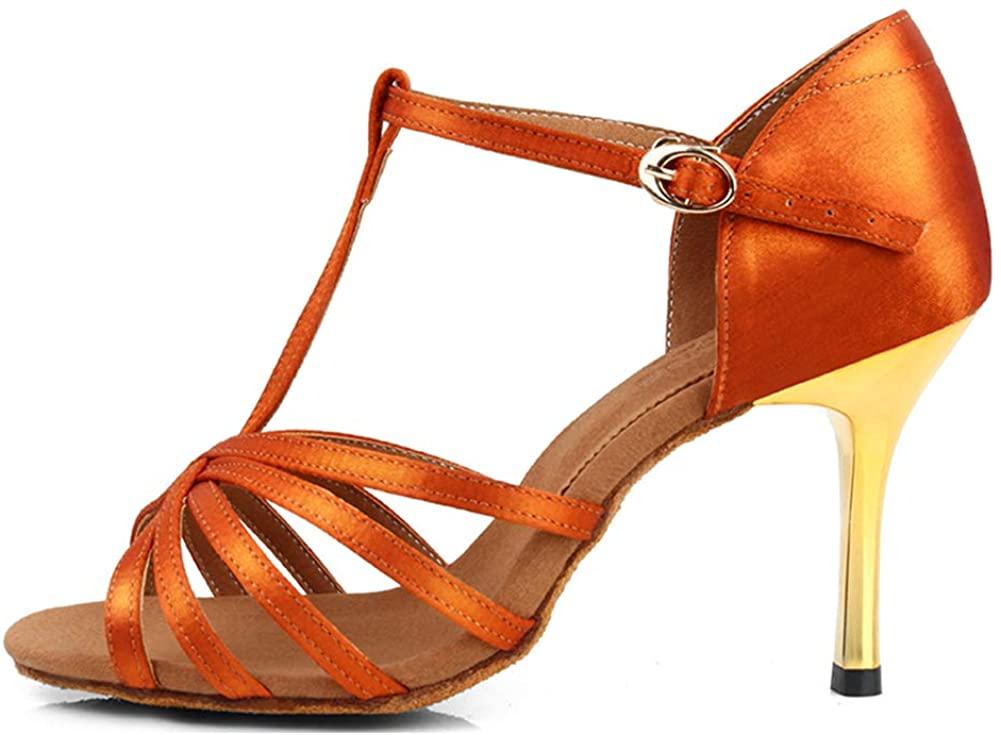 JUODVMP Women Dance Shoes Satin Ballroom Performance Salsa Tango Latin Dance Shoes Model VS-WX217