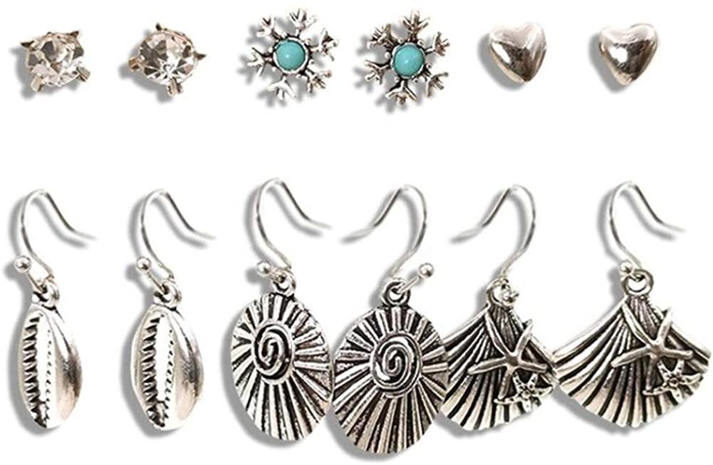 Vintage Ethnic New Big Fan shape Bronze Indian Earrings Set For Women Bohemian Tassel Shell beads Teardrop Geometric Triangle Drop Earring Jewelry 6 pcs