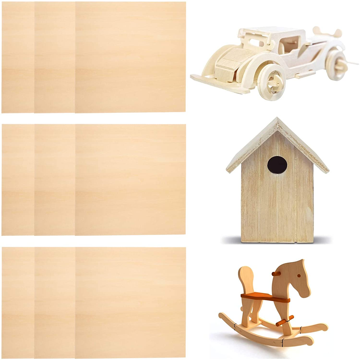 5 Pieces Basswood Wood Sheets Unfinished Wood Slices Blank Wooden Craft Sheets, 300 x 300 x 3 mm Thin Plywood for DIY Craft Hand-Made Project Mini House Building Wooden Plate Model Architectural Model