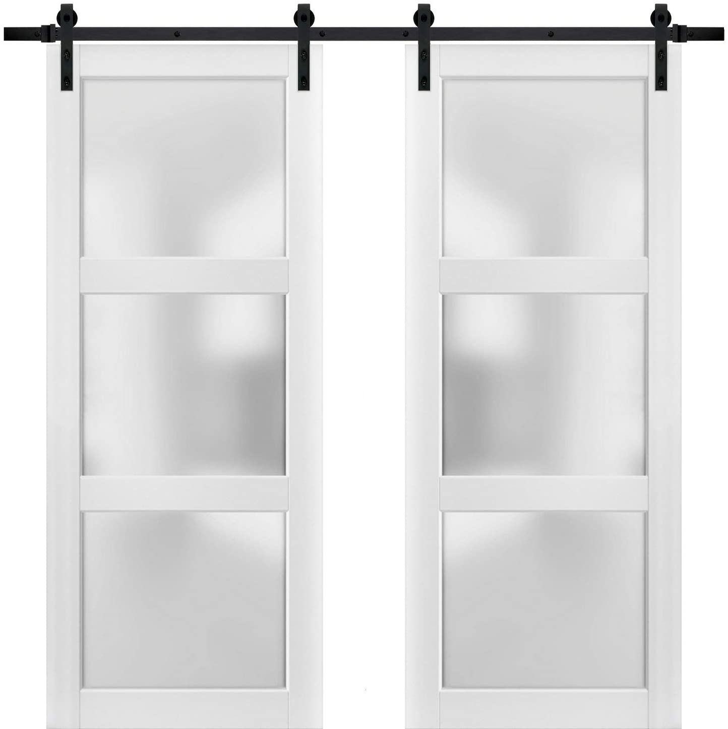 Sturdy Double Barn Door 72 x 84 inches with Frosted Glass 3 Lites | Lucia 2552 Matte White | Top Mount 13FT Rail Hangers Heavy Set | Solid Panel Interior Doors
