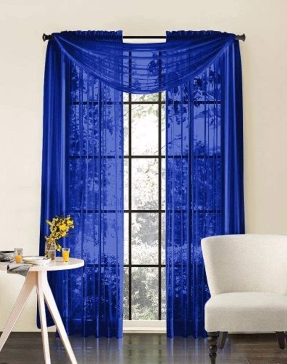 NK Linen Collections Window Sheer Curtains Scarf Valance Solid Colors Soft Sheer Panels Voile Window Topper Swag Panel Curtain (2 Panels: 55