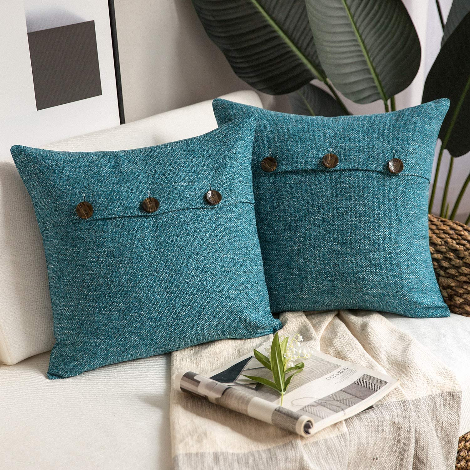 Phantoscope Farmhouse Throw Pillow Covers Triple Button Vintage Linen Decorative Pillow Cases for Couch Bed and Chair Lake Blue, 18 x 18 inches 45 x 45 cm, Pack of 2