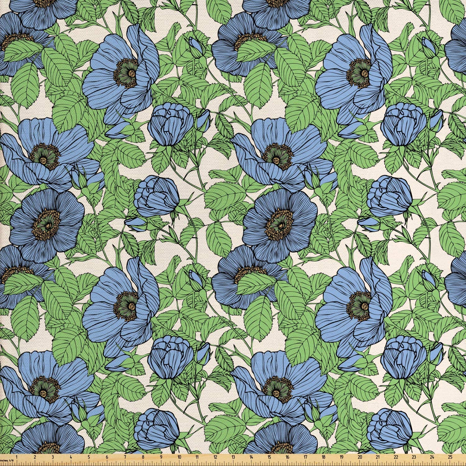 Ambesonne Floral Fabric by The Yard, Hand Drawn Bold Flowers and Leaves Arrangement, Decorative Fabric for Upholstery and Home Accents, 5 Yards, Green Blue