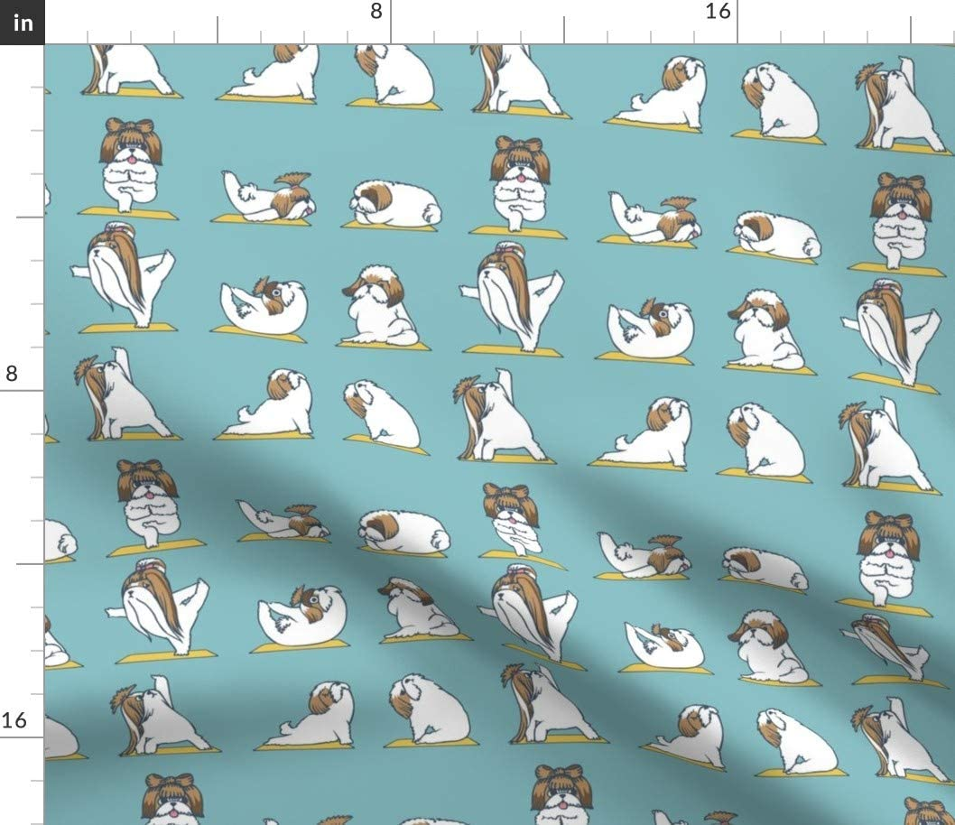 Spoonflower Fabric - Shih Tzu Gym Fitness Workout Printed on Cotton Poplin Fabric by The Yard - Sewing Shirting Quilting Dresses Apparel Crafts
