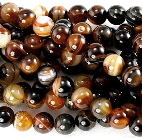 Banded Agate Beads Brown/Black Plain Round 8mm Strand of 45+