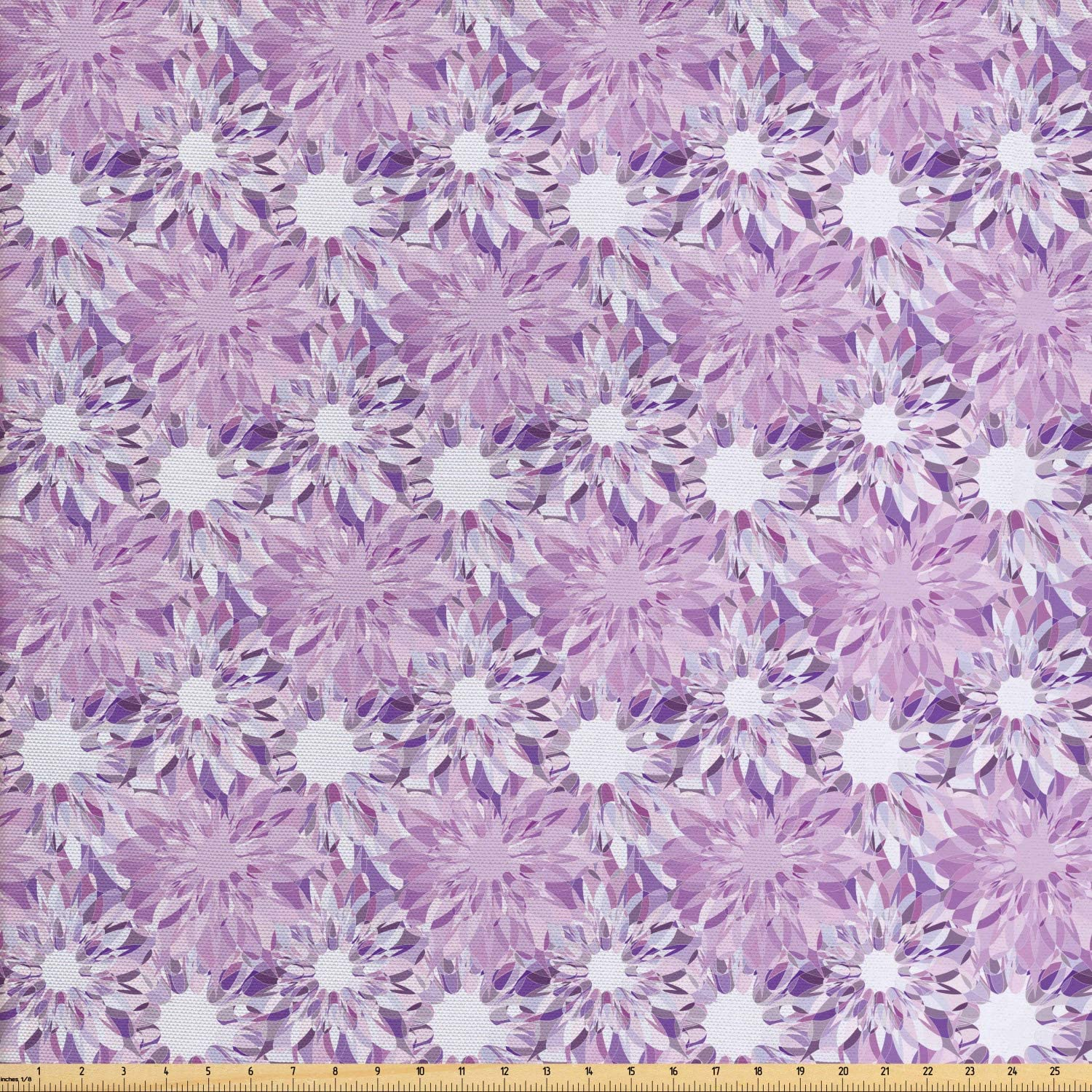 Ambesonne Mauve Fabric by The Yard, Digital Guiloche Fractal Crystal Floral Ornamental Retro Design, Decorative Fabric for Upholstery and Home Accents, 1 Yard, Lilac and Lavender