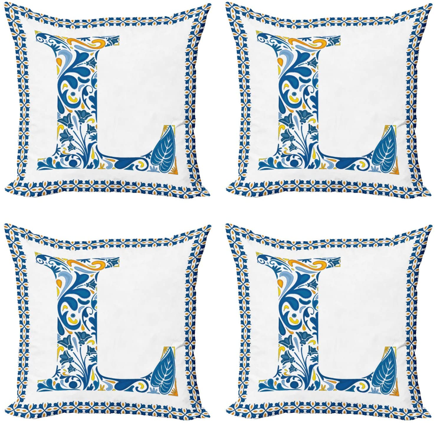 Ambesonne Letter L Decorative Throw Pillow Case Pack of 4, Capital L in Traditional Portuguese Art Abstract Patterned Font Design, Cushion Cover for Couch Living Room Car, 16