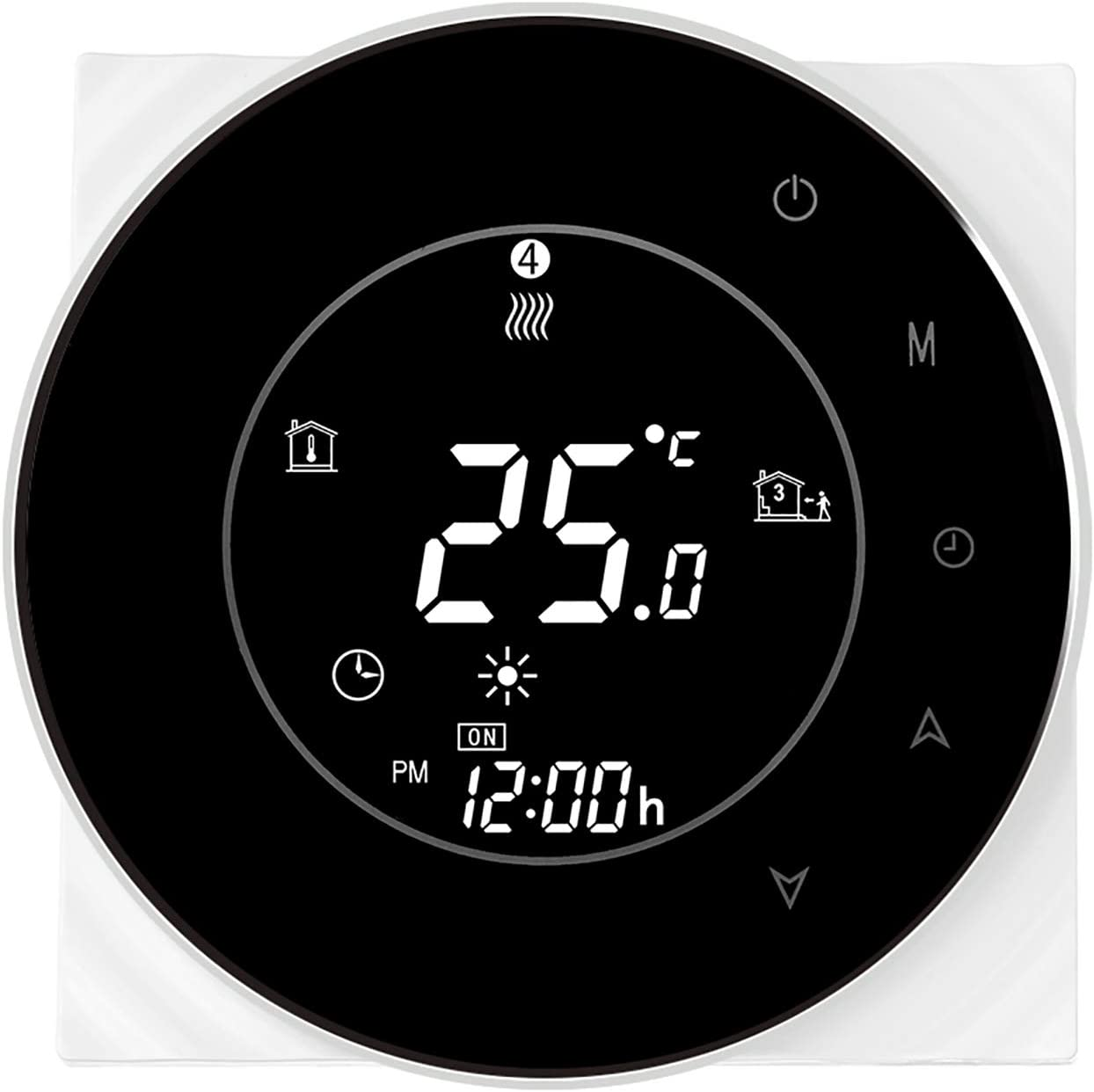 OWSOO THP6000-GCLW Water/Gas Boiler Thermostat Smart WiFi Digital Temperature Controller Tuya/SmartLife APP Control Backlit LCD Display Programmable Voice Control, Black