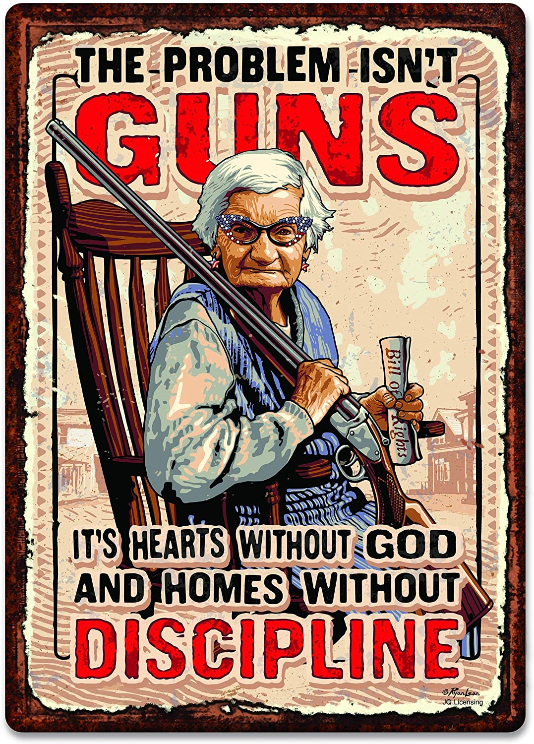 PAGAIXI Bar Wall Decor The Problem Isn't Guns - It's Hearts Without god and Homes Without Discipline Man Cave Patio Tin Sign 8