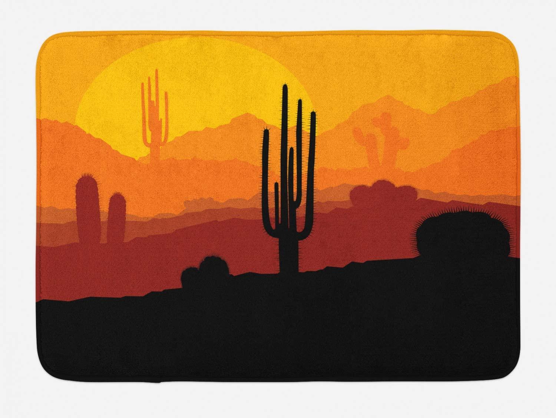 Lunarable Cactus Landscape Bath Mat, Prickle Plants Silhouettes Exotic Summer Day Sun in Orange Yellow Hues, Plush Bathroom Decor Mat with Non Slip Backing, 29.5