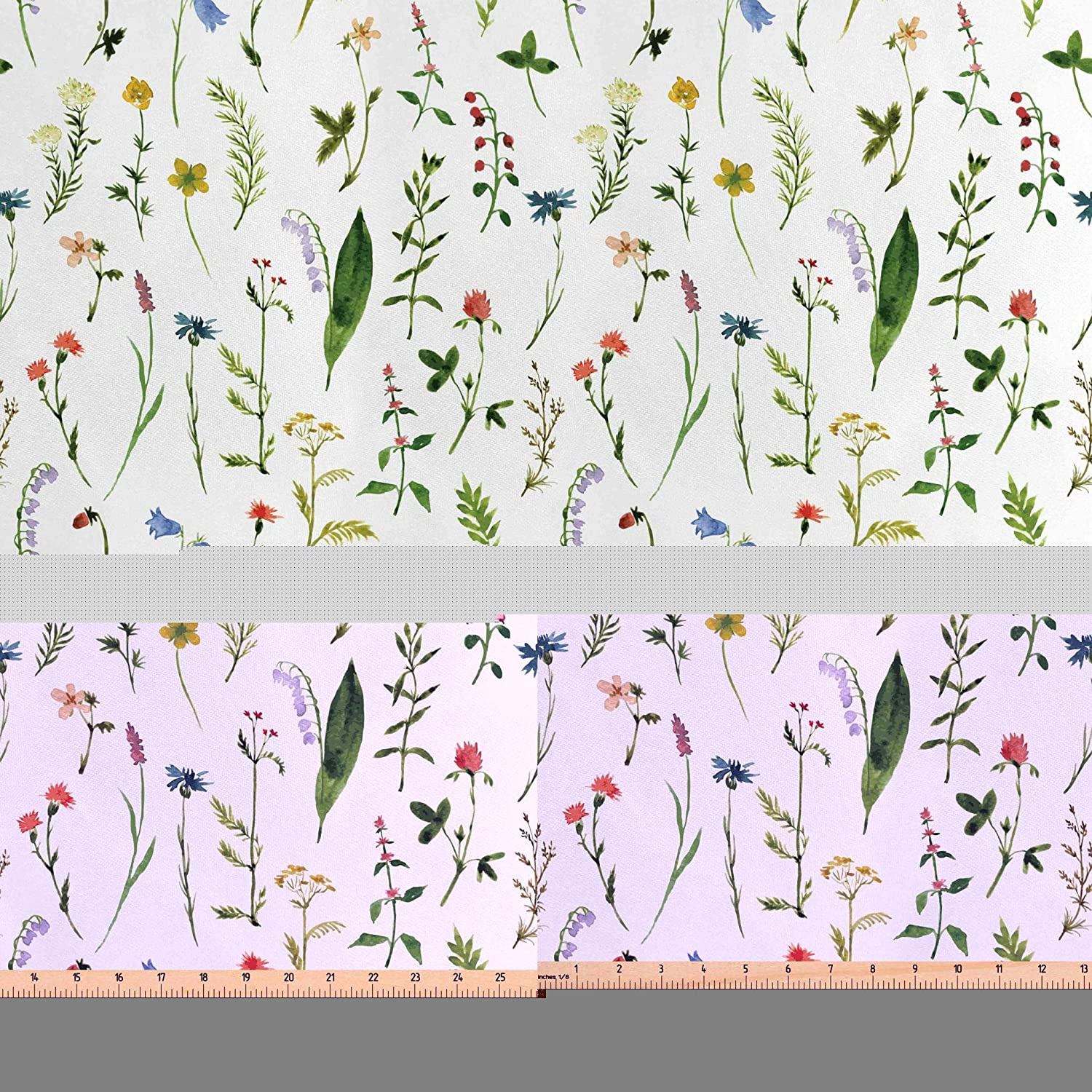 Lunarable Leaf Fabric by The Yard, Flourishing Spring Meadow with Various Wildflowers Nature Themed Watercolor Art, Decorative Satin Fabric for Home Textiles and Crafts, Multicolor