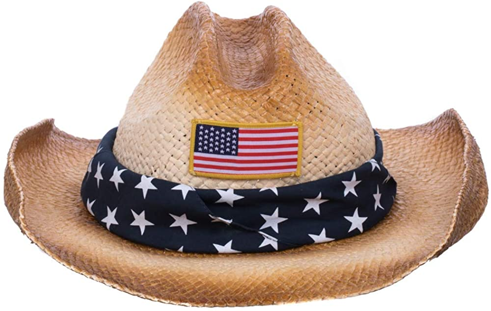 Tea Stained Paper Straw American Flag Cowboy Hat with Bandana Band
