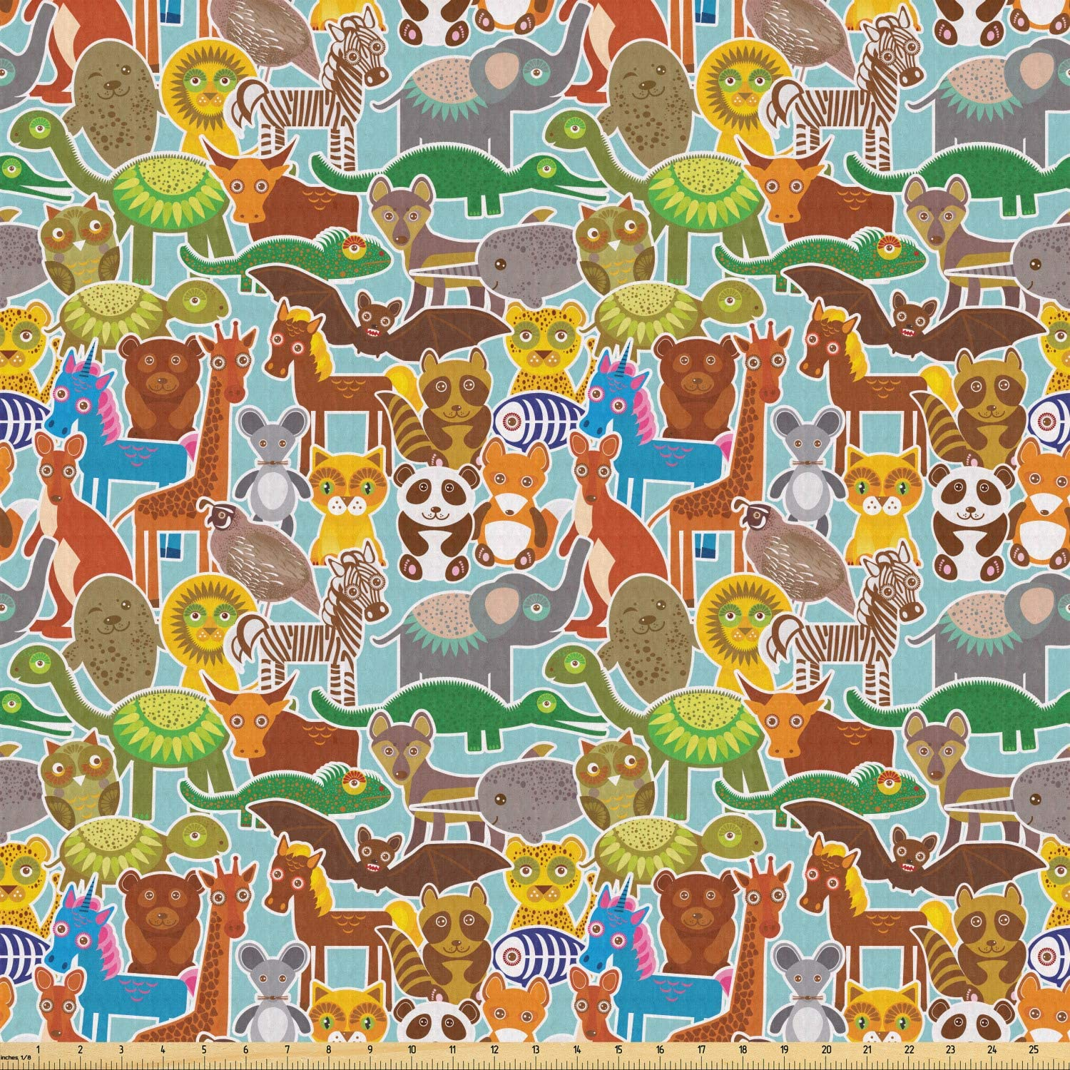 Ambesonne Animals Fabric by The Yard, Various Kinds of Wildlife Animals on a Blue Background Kids Nursery Cartoon Zoo, Stretch Knit Fabric for Clothing Sewing and Arts Crafts, 3 Yards, Multicolor