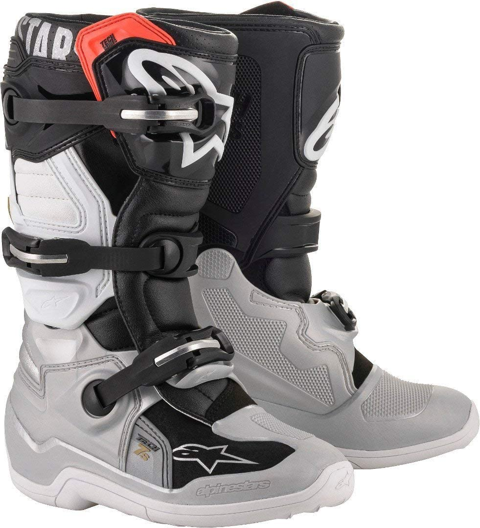 Alpinestars Youth Tech 7S Motocross Boot, Black/Silver/White/Gold, 2