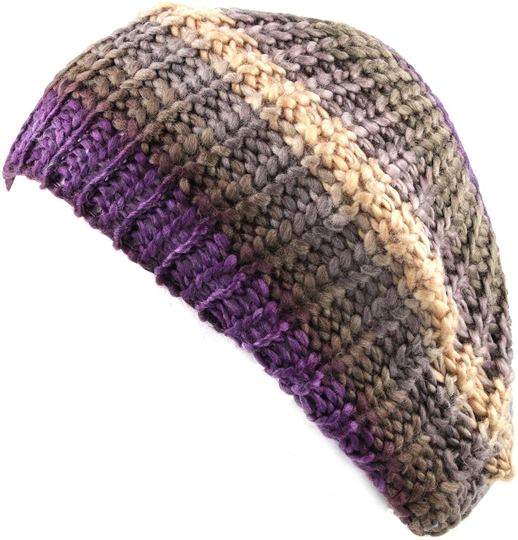 The Hat Depot 700 Winter Rainbow Knit Tam Beret Hat